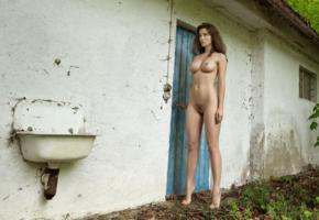 brunette, nude, naked, amateur, sexy girl, nipples, outdoor, haired pussy, boobs, long legs, perfect, vika a
