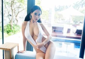 asian, brunette, pigtails, busty, cleavage, big tits, boobs, sexy, tuigirls, tuigirl, exotic, model, posing, monokini, hot, decollete, hi-q, erotic