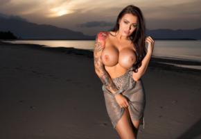 sexy, nipples, boobs, busty, charley atwell, big tits, fake boobs, sunset, tattoo, beach, charley, charley a, super boobs