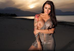 sexy, boobs, busty, charley atwell, nails painted, big tits, fake boobs, sunset, tattoo, beach, charley, charley a