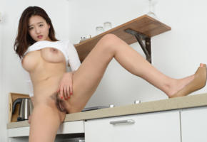sejin, korean, asian, pussy, hairy, bush, sink, kitchen, boobs, big tits, haired pussy