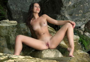melina d, brunette, outdoors, forest, rocks, naked, small tits, nipples, shaved pussy, labia, ass, spread legs, hi-q, dea ishtar, natural beauty, butterfly pussy, pink inside, eastern european girls are the hottest, tan lines