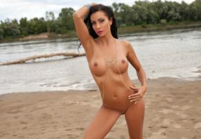 mikaela, brunette, beach, naked, big tits, perky nipples, shaved pussy, pierced navel, tanned, hi-q