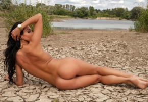 mikaela, brunette, beach, naked, labia, ass, tanned, hi-q