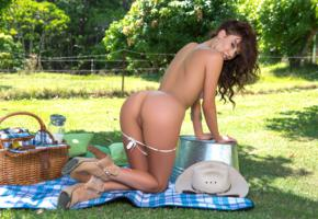 sophie anne, sexy girl, adult model, nude, naked, hat, ass, butt, buttocks, pussy, kneeling, brunette, legs, panties down, tanned, picnic