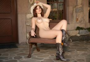 molly stewart, redhead, cowgirl, naked, big tits, hard nipples, hat, boots, hi-q