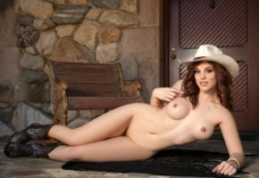 molly stewart, redhead, cowgirl, naked, big tits, hard nipples, shaved pussy, hat, boots, hi-q