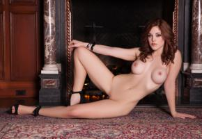 molly stewart, sexy girl, adult model, nude, naked, fake tits, boobs, shaved pussy, spreading legs, fireplace, high heels