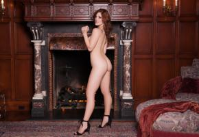 molly stewart, sexy girl, adult model, nude, naked, long legs, fireplace, high heels, ass