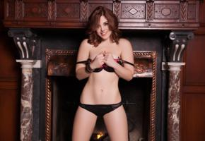 molly stewart, sexy girl, adult model, lingerie, smile, black panties, fireplace, bra