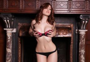 molly stewart, sexy girl, adult model, lingerie, black panties, fireplace, bra, handbra