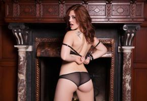 molly stewart, sexy girl, adult model, lingerie, black panties, fireplace, bra, undressing, see through