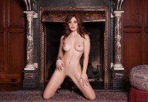 molly stewart, sexy girl, adult model, nude, naked, fireplace, shaved pussy, boobs, big tits