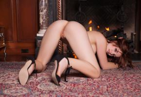 molly stewart, sexy girl, adult model, nude, naked, fireplace, ass, doggy, pussy