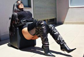 brunette, curvy, amateur, milf, busty, sexy babe, long hair, posing, sitting, outdoor, tight clothes, shiny, black, leather, crotch boots, gloves, erotic, fetish babe, overknee boots, sunglasses, very long hair, babes in boots, high boots