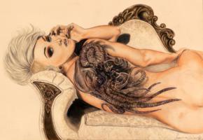 art, drawing, girl, bsck, tattoo