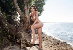 niemira, brunette, outdoors, water, trees, naked, tits, ass, tan lines, hi-q, mira, tiffany, niemira foxx, mira niemira, nonna y