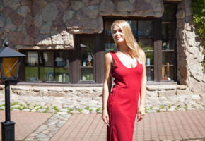 sarika a, red dress, outside, smile, blonde, darina a, darina nikitina, davina, kitty, sarika