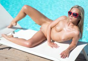 vinna reed, cristal caitlin, vienna reed, shanie ryan, blonde, pool, naked, tits, nipples, shaved pussy, labia, spread legs, sunglasses, hi-q