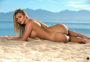tahlia paris, beach, naked, big tits, nipples, labia, ass, hi-q, sand, sea, hot, ass wallpaper