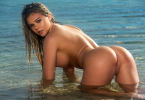 tahlia paris, beach, naked, big tits, nipples, shaved pussy, labia, ass, wet, hi-q, sea, water, hot, ass wallpaper