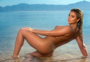 tahlia paris, beach, naked, big tits, nipples, ass, wet, hi-q, sea, water