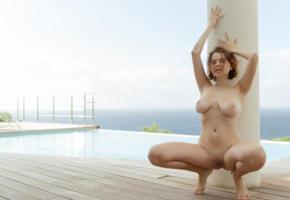 marina visconti, nude, boobs, redhead, beauty, hot, sexy, adult model, pornstar, squatting, pool