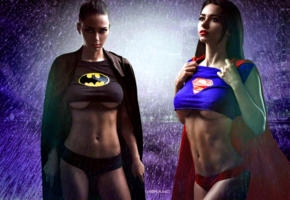 badgirl, supergirl, shiny clothes, brunette, boobs, superman, batgirl, underboob, cosplay, batman