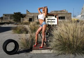 savannah, brunette, outdoors, gas pump, desert, non nude, shorts, undone, top, big tits, tanned, oiled, high heels, hi-q