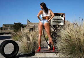savannah, brunette, outdoors, desert, gas pump, shorts, nice ass, top, tanned, oiled, high heels, hi-q