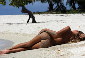 butt, sand, beach, pussy, smooth pussy, tan, lying, ass, sea, tropics, back, sexy ass, tanned, unknown