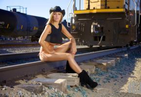 jordan carver, cowgirl, train, outdoors, tracks, hat, blue sky, blonde, sexy, model, babe, railline, underboob, sexy legs, rails