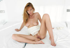 carmen gemini, redhead, sitting, bed, boobs, big tits, trimmed pussy, sexy, spreading legs