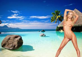 staci carr, blonde, beach, naked, small tits, perky nipples, shaved pussy, labia, spread legs
