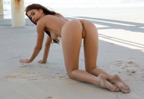 sophie anne, brunette, beach, naked, tits, nipples, shaved pussy, labia, ass, doggy, hi-q