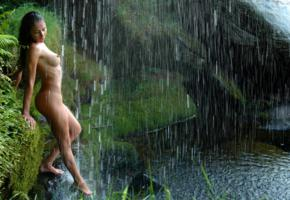 brunette, nude, naked, amateur, outdoor, nipples, water, waterfall, wet, asian, boobs, tits, exotic