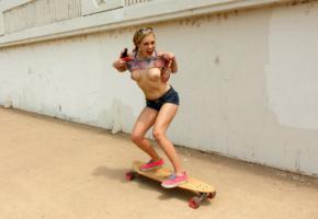 ember volland, blonde, outdoors, skateboard, topless, tits, nipples, flashing, laughing, shorts, hi-q
