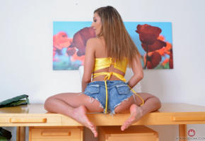 moka mora, feet, brunette, sexy legs, jeans shorts