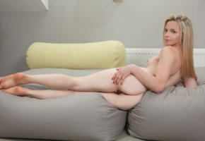 ria, iva d, mia sweets, blonde, sexy girl, adult model, sofa, nude, ass, legs