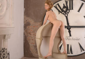 angelika d, nika, sexy girl, adult model, ass, legs, nude, hot, clock, chair