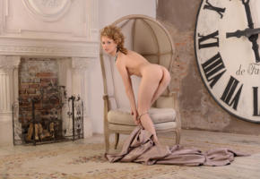 angelika d, nika, sexy girl, adult model, ass, legs, nude, clock, chair