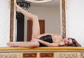 alyssa a, molly v, giulia, sexy girl, adult model, tits, brunette, mirror, spreading legs