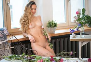 karina baru, slava, mary, sexy girl, adult model, shaved pussy, tits, tanned, nude, flowers