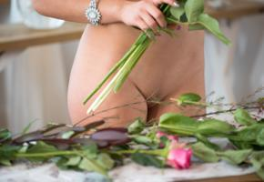 karina baru, slava, mary, sexy girl, adult model, shaved pussy, flowers