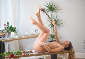 karina baru, slava, mary, sexy girl, adult model, tits, tanned, nude, table, legs up, flowers