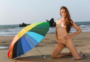 isabella, famegirls, beach, sea, umbrella, tits