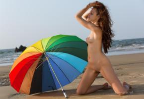 isabella, famegirls, beach, sea, umbrella, tits, shaved, nude