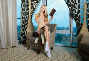 kendell, belonika, blonde, sexy girl, adult model, small tits, socks