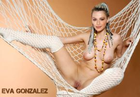 eva gonzalez, model, latin, green eyed, nude, spread legs, fake, celebrity fake, hammock