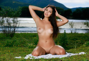 romana, rika s, sexy girl, adult model, tanned, brunette, nude, boobs, tits, shaved pussy, lake, perfect tits